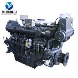 오리지널 뉴 Sdec 6 실린더 500kW 680hp 중국식 고속 변속기가 있는 대형 선박 디젤 엔진 세트