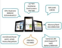 Meados de 9,7 polegada de núcleo duplo, 800 MHz//WiFi/3G/Android Market 2.2 Tablet PC (HX-M803)