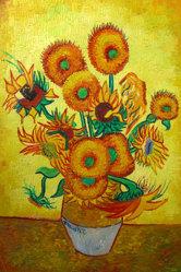 Het Olieverfschilderij van de Hand van de zonnebloem