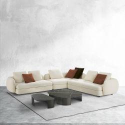 Moderno sofá Seccional de tela italiana con sillón de cuero Hogar asientos blandos esquina sofá para el living Mobiliario de sala de estar
