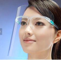 HD hottes de Nevoeiro Anti faciais completas de segurança Segurança Clara Faceshield Visor de Vidro de protecção transparente protetor de rosto com estrutura de óculos