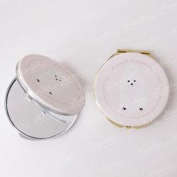 Dom personalizadas de couro Redondo Cartoon animais de estimação adorável Metal espelhos de maquilhagem Prático bolso compacto Pomeranian Flip lado duplo colorido espelhos de maquilhagem