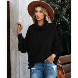Высокое качество женской моды сплошным цветом All-Match High-Neck моды слабо сплошным цветом свитер плюс размер верхней части случайных свитер