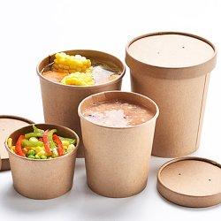 環境に優しく使い捨て可能なクラフト紙ボールの包装のコップ袋はふたが付いているサラダボールを取り除く