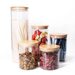 Especias de borosilicato de alta encurtidos rústico Jarra de cristal hermético de bambú con tapa