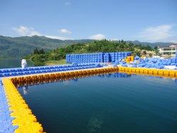 К услугам гостей бассейн в куб с плавающей запятой с пластмассовой понтонный мост