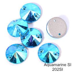 Venda a quente Rivoli costurar sobre vidro Rhinestones Aquamarine Blue Flatback costurar sobre pedra para roupa