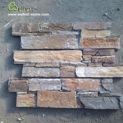 Leisteen gestapelde steen, wandsteen, steenfineer, losse stenen cementwand