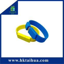 Горячий подарок для продвижения продаж оптовым силиконовый браслет USB Flash Drive браслет