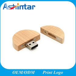 Ecoの友好的な丸型USBのフラッシュディスクペン駆動機構木USBの棒