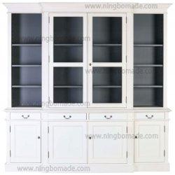 Nórdica antigo mobiliário clássico Branco e Cinza Armário de madeira maciça Buffet de pequeno conjunto de gabinete