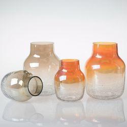 Jarrón de flores de vidrio artesanales al por mayor elegante florero de vidrio decorativos para el hogar