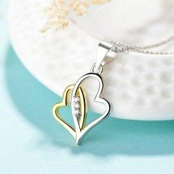 Moda 925 Sterling Silver Pendente de coração com ouro e ródio jóias dourados