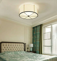 De moderne Vloed van de Trommel zet de Lichte Lichte Lamp van het Plafond van de Inrichting met de Schaduw van de Stof van het Linnen, voor Slaapkamer op