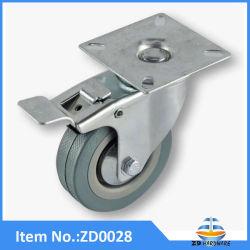 Roulettes en caoutchouc gris de bonne qualité industrielle à usage intensif de Castor avec frein