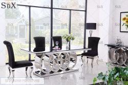 Commerce de gros meubles chinois Livngroom Base de métal plateau en verre de table à manger