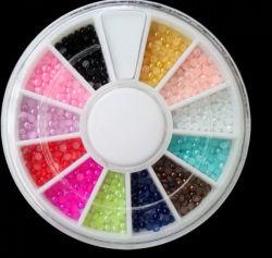 Ronda colorido Nail Art perlas para la belleza de uñas
