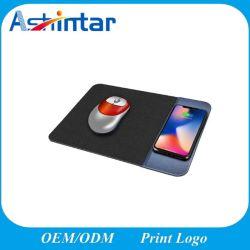 2 en 1 de fino cuero pu Qi Fast 5W mini cargador inalámbrico portátil personalizado