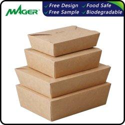 版の食品等級のクラフト紙の準備の使い捨て可能な昼食の食事ボックス