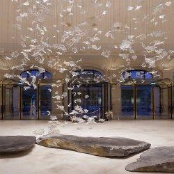Kundenspezifischer großer Hotel-Vorhalle-Leuchter, der moderner Entwurfs-Luxuxglasleuchter-Anhänger-Lichter beleuchtet