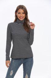 면 스판덱스 자라목 스웨터 숙녀 형식은 셔츠 긴 소매 블라우스를 줄무늬로 한다