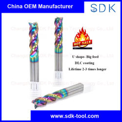 En forma de U Gran recubierto de DLC de alimentación 3 flauta CNC de carburo cementado Cortador de molino de extremo cuadrado de aluminio