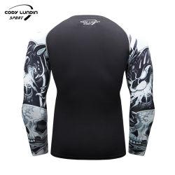 ملابس رياضية للرجال رياضية الضغط قميص رياضي بالأكمام الطويلة من الرشبة للرجال