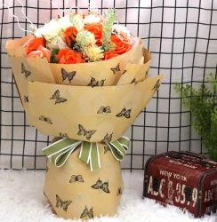 花のギフトの衣類の化粧品のための白いティッシュの包装紙を押すカスタムロゴの印刷のローズの金ホイル
