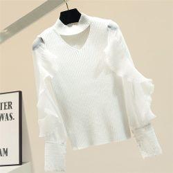 숙녀를 위한 유행 레이스 덧대어깁기 스웨터 블라우스
