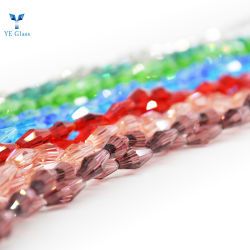 宝石類の作成のためのクリスタルグラスの長いBiconeの多彩なビード