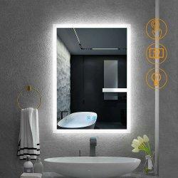 5mm CE UL en la pared del baño Hotel Decoracion decoración interruptor táctil LED iluminado espejo del baño con desempañador