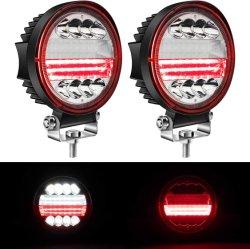 4.5인치 LED 원형 라이트 바 72W 화이트 스팟 조명 포드 오프로드 안개 드라이빙 루프 바 범퍼(황색 천사 포함 아이 DRL 마커 램프