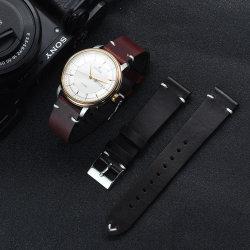 Italiano vintage 20mm 22mm encerado Watchband Aceite original de liberación rápida de la banda de la correa de Reloj de cuero negro