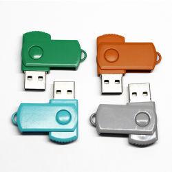 إبزيم مفتاح محرك أقراص USB محمول معدني دوار متعدد الألوان شعار طباعة محرك أقراص فلاش، شريحة USB