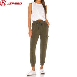 Cordón elástico cintura Terry el sudor de la carga de los pantalones para mujeres