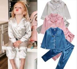 Kinderen kinderen kinderen pyjama's Silk Satin Tops Broek herfst winter lang Sleeve Sleepwear Nightwear Girl Boy Pajama Sets