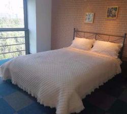 3PC franste Rand-Wäsche-Baumwollsteppdecke-Set aus