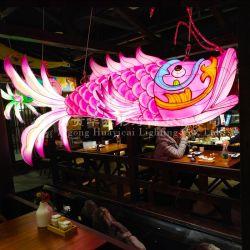 Huayicai, das LED beleuchtete chinesische Fisch-Laternen hängt
