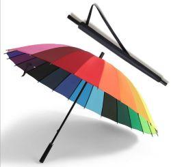 Homens com sobremedida forte no exterior resistente à intempérie Umbrella Senhoras 24K de Golfe de couro guarda de protecção solar dos homens de alça longa Umbrella em stock