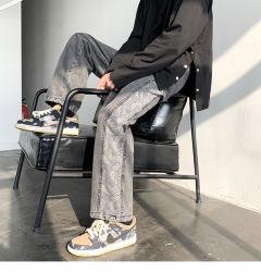 Hombre de Jeans sueltos tubo recto piernas anchas Primavera American Oldschool Flor de castañas de cajú pantalones High Street Instagram tendencia