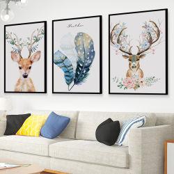Retro estilo nórdico Elk pintura decorativa