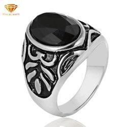 Agate de haute qualité en acier Titane Bague Fleur Punk Rock modèle GEM anneau noir en acier inoxydable pour les hommes Sgmr2905