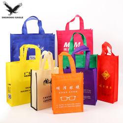 上海の製造業者の安い価格のカスタムロゴは薄板にされたNon-Wovenトートバック、友好的なファブリックが再使用可能なPP非編まれた袋を運ぶEcoを印刷した