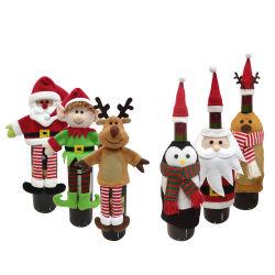 Décorations de Noël pour la maison du Père Noël Bonhomme de neige ensemencement Bouteille de vin de couvrir les détenteurs de cadeau de Noël Décoration Navidad Nouvelle année