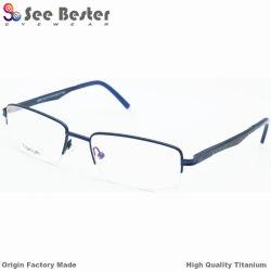 100% 두 배 색깔 중국 OEM 기억 장치 티타늄 광학 프레임 상한 눈 유리를 가진 티타늄 고품질 반절 크기 사진 광학 프레임은 Eyewear 가관을 짜맞춘다