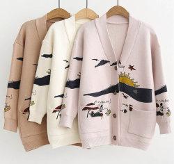 카디건 스웨터 여성용 루즈큐트 프린트 조커 니트 재킷