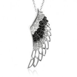 مجوهرات عقد ماسية أبيض أسود 925 جناح الملاك الفضي