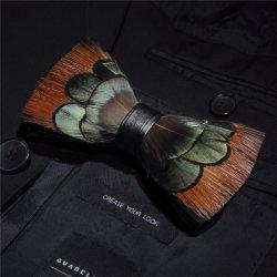 Saída de fábrica 100% natural Hand-Made Feather+PU homens Moda Bow tie