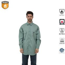 Van de Katoenen van Fr van mensen 100% Kleren van het Werk Veiligheid van Overhemden Openlucht Vuurvaste met Knopen