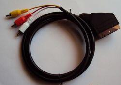 SCART-naar-3RCA-kabel, vernikkeld, volledig bekabeld, 1,5m/1,8m/3m